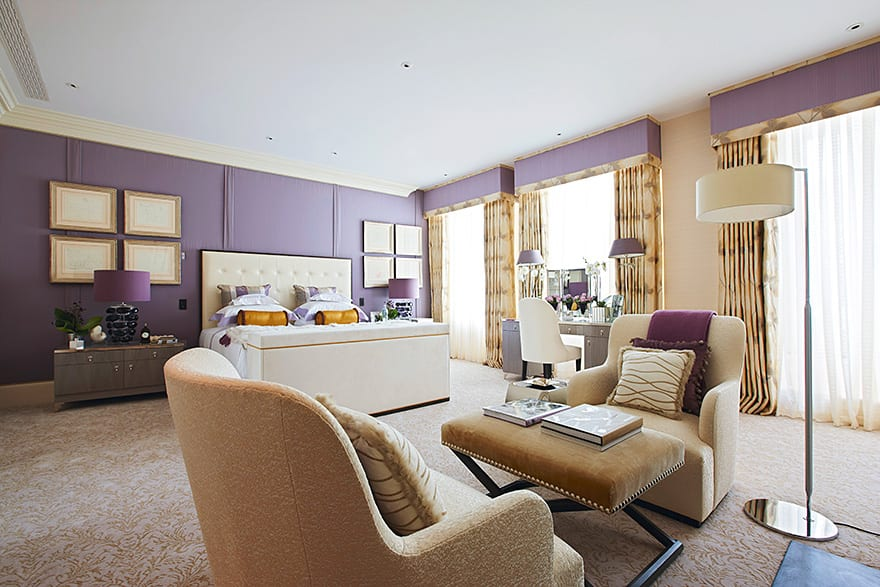 Dressed in cashmere and fur with silk bolster cushions, the bed was intended to serve as the main focus point of the room while three large windows allow the benefit of optimum light.