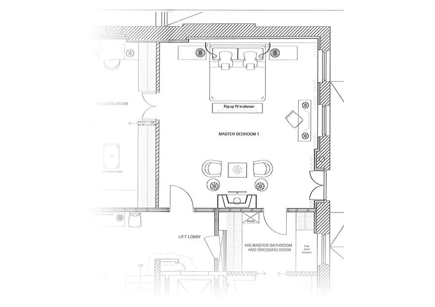 Planning drawings show the bedroom is easily accessed from all areas leading from it.
