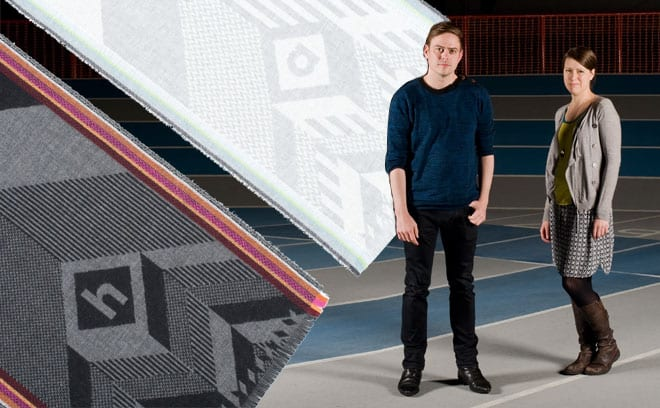 Graphic designer Emlyn Firth and Angharad McLaren, a weave designer and tutor at Duncan of Jordanstone, are behind Home/Away, a pair of supporters' scarves made in partnership with Johnston's of Elgin. They plan to create a new fabric for sportswear accessories for the project
