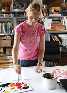 """Marion loves to experiment in her studio;  """"if you can ink it, you can print with it!"""" reckons Marion; Marion's latest book demonstrates how to create like the greats"""