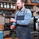 Graeme Crawford owner of Papercup coffee, who roast and distribute their own coffee at their cafe on Great Western Road.