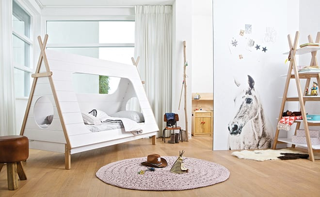 The understated Teepee cabin bed from Cuckooland sports playful peep holes