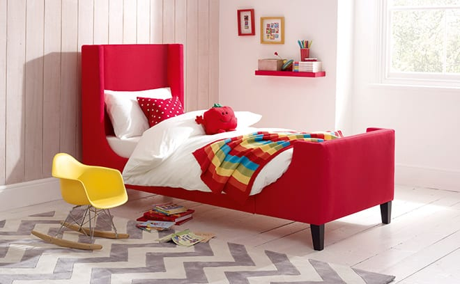 Its bold, pillar-box red makes the Madison bed a great focus for the room