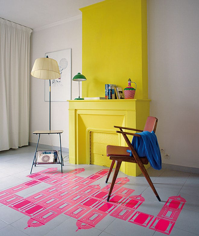 Floor stencilled with Ground By Aya Kakeda stencil package using Pebeo Studio acrylic paint in Neon Pink, Mr & Mr