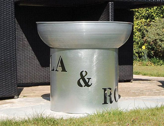 Not On The High Street's fire pit can be personalised