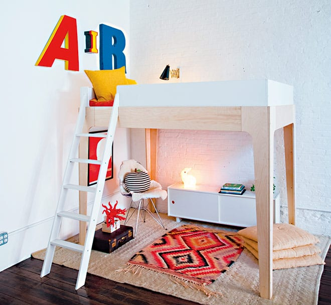 The Perch bunk bed is made from eco-friendly Baltic birch for sustainability