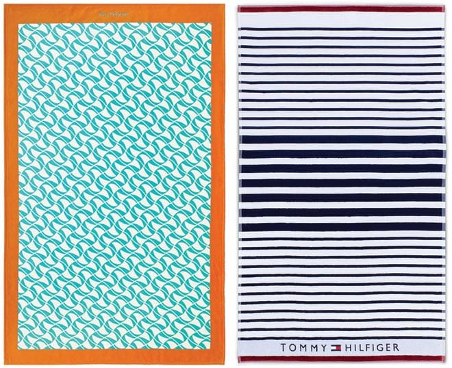 Beach towels from Yves Delorme and Tommy Hilfiger