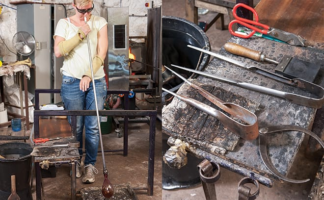 Glass artist Elin Isaksson at her studio on the touch estate in Stirling.