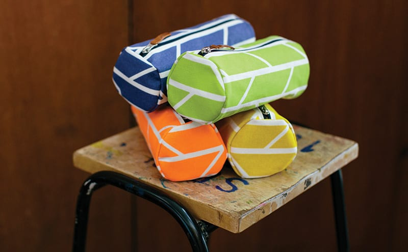 Convergence barrel pouches come in Laura Spring's signature array of vibrant colours