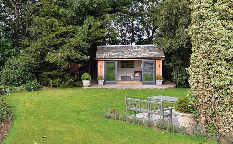 Positioned in a secluded spot among trees at the very end of the garden, the building of this room did not require planning permission as it met the crucial criteria of being a single storey and occupying less then 50 per cent of the garden footprint.