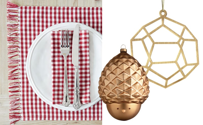 (Left to right) Red gingham table linen, from £24, Nordic House, Pignola Christmas Bauble, £14.50, Alessi, stockists include Black by Design and Brass Decoration, £14, Copenhagen Craft, stockists include clippings.com