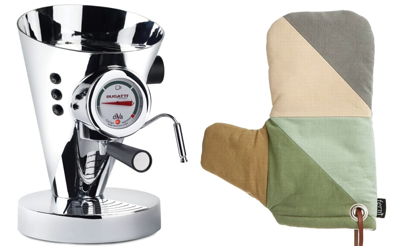 Bugatti coffee machine from Fishpools and Oven mitt from Ferm Living.