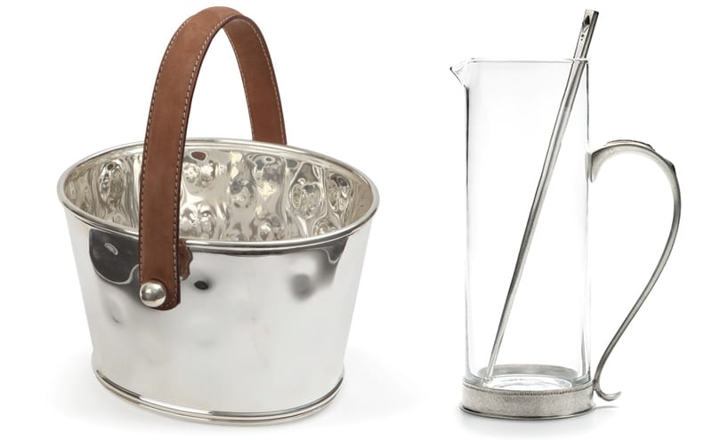 Leather and silver ice bucket, £99.95, LuxDeco and Brenna Martini pitcher, around £210.25, Ralph Lauren
