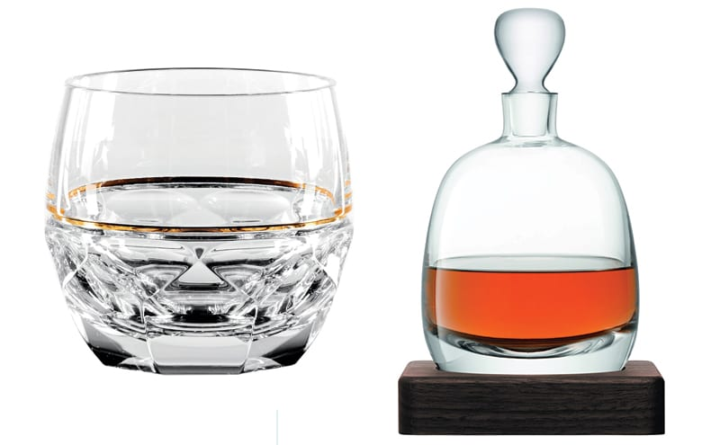 Jo Sampson Elysian Rocks Glass set of two, £135, Waterford, stockists include Amara and Islay decanter, £295, part of a set, Annabel James