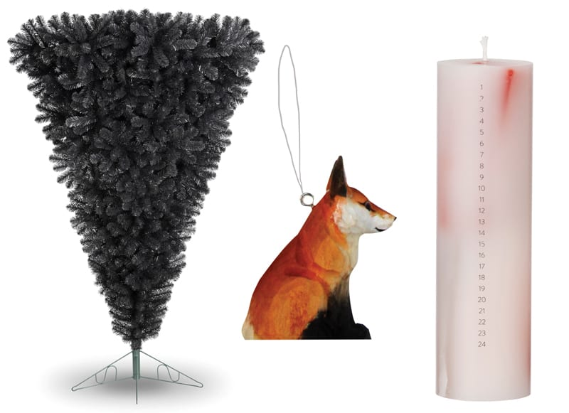 (Left to right) Upside down christmas tree, from £144.99, White Stores, Fox bauble, £2.50, Gisela Graham and Calendar candle, around £16, Ferm Living