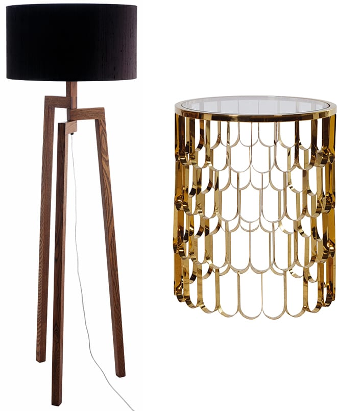 Dylan Floor Lamp, £95, Habitat and Curzon Gold Side Table, £499, Aflair