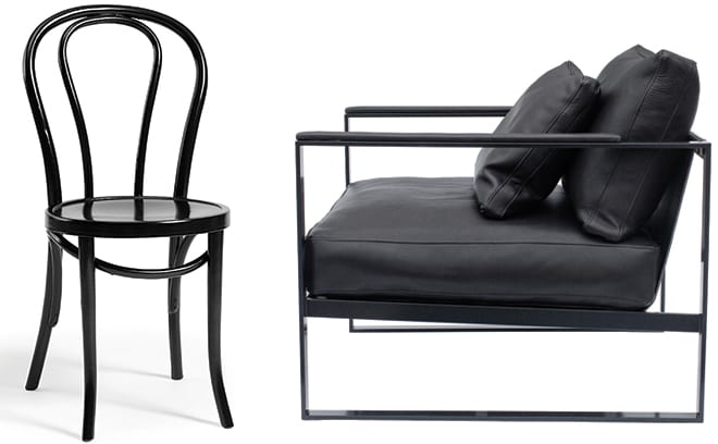 Retro Bistro Chair in Black, £160, Nordic House and The Monaco Chair, £2563, Roshults