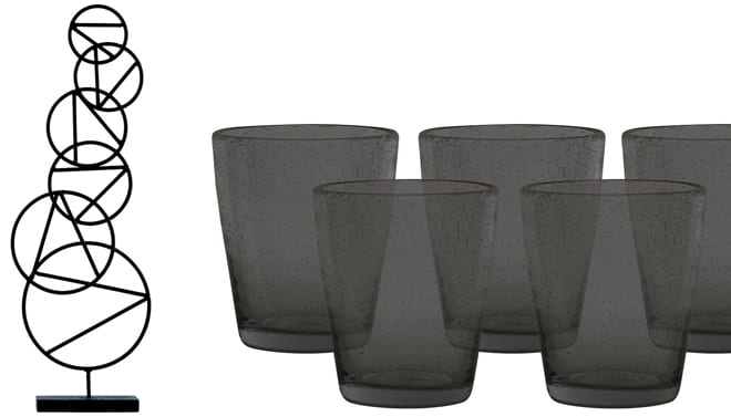 Iron Ring Sculpture, £45, The Mint List and Ella Charcoal Tumblers, set of 6 £30, Neptune