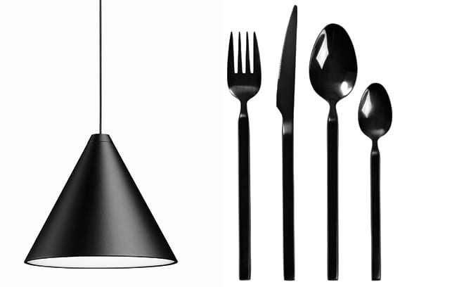 String light by Michael Anastassiades, from £365, Flos and Black cutlery, from £9.20, Broste Copenhagen