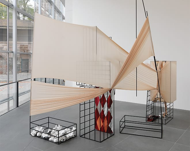 Unbound, 2013, Claire Barclay. Image by Annette Kradisch courtesy of the artist and Stephen Friedman Gallery