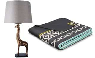 Giraffe Table Lamp and Nuuk Nomads Blanket