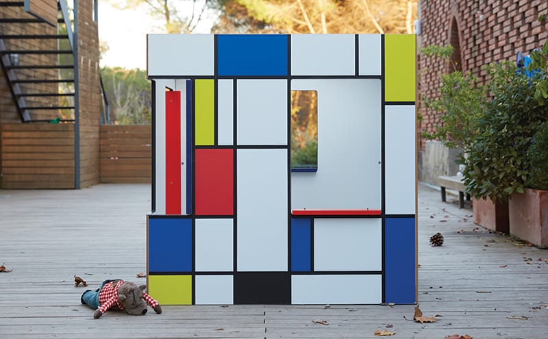 SmartPlayhouse has a cool, contemporary range of outdoor structures for kids. The latest offering – this Mondrian-inspired Stijlhaus – is currently available as an indoor playhouse, made from MDF,  but it can be built for the outdoors upon request. From £550.