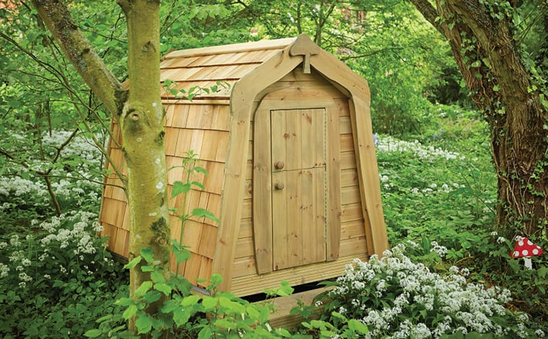 The Hidey Hole from the Playhouse Company took inspiration from a Hobbit's house. With a cedar shingle roof and sides, it is designed to blend into its surroundings. £1,595.