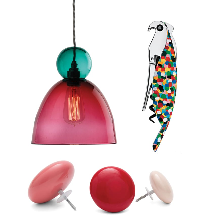 HANG OUT Curiousa & Curiousa's pendant light will be a burst of colour over the kitchen table. PRETTY POLLY open bottles in style with this corkscrew from Alessi. SPOT ON brighten walls with Urbanara's coat hooks.
