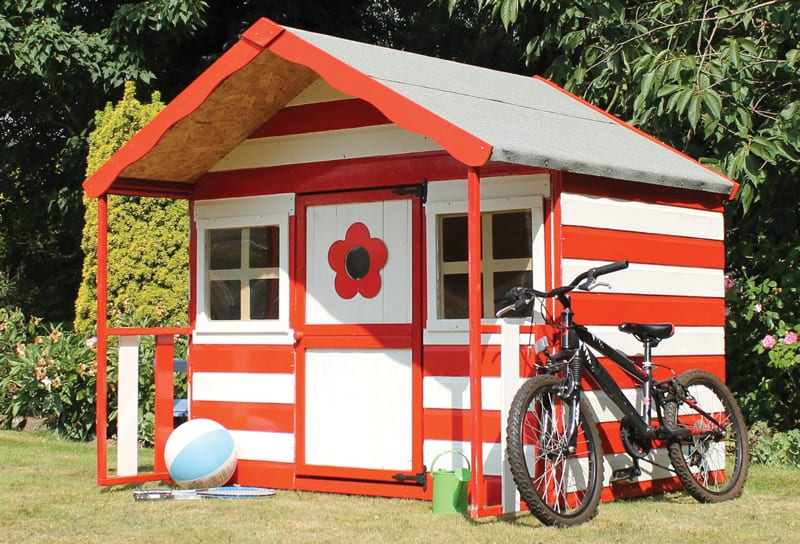 Go for a traditional look with a twist with the Honeypot Honeysuckle wooden playhouse from Waltons. The Swiss Cottage design comes unpainted to allow customisation, and features 12mm tongue and groove cladding, with shatterproof styrene glazing. £269.95.