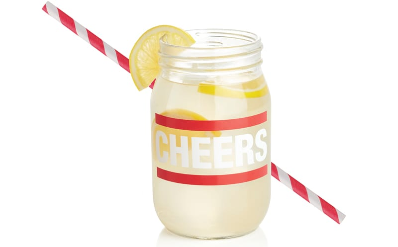 Cheers Canning Jar Glass, £4.53, Crate & Barrel and CARTA paper straws, £3 for 25, Habitat