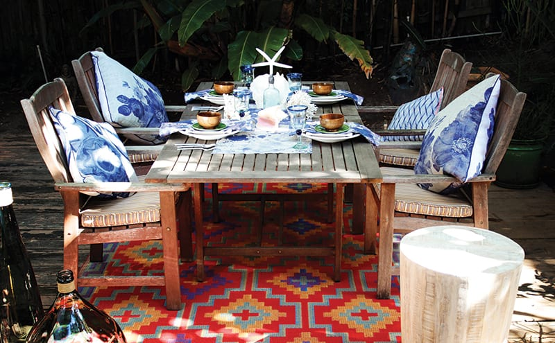 Use outdoor rugs such as this one from Fab Hab (Stockists include Wayfair and Cuckooland) to pull the outdoor living look together