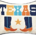 Jonathan Adler – Texas needlepoint cushion – Portrait
