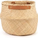 Olli Ella – Natural belly basket with leather handles – Portrait