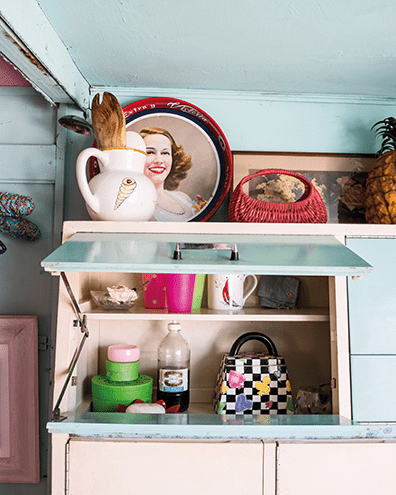 Pastel blues, ice-cream colours and junkshop treasures fill the interior