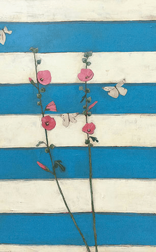 Hollyhocks and Three Butterflies and Sail Away, both mixed media on canvas, two of Jo's recent works which will be on show this summer