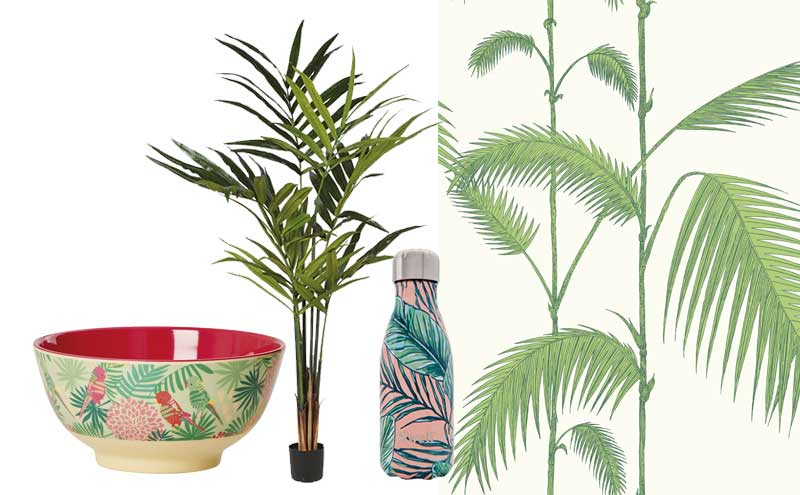Tropical Print Melamine Bowl, £9.50, Rice Dk; Kentia Palm Tree, £80, Sweetpea & Willow; The Resort Bottle, Palm Beach, £25, S'well; Contemporary Restyled Collection, Palm 95/1009, £76 per 10m roll, Cole & Son
