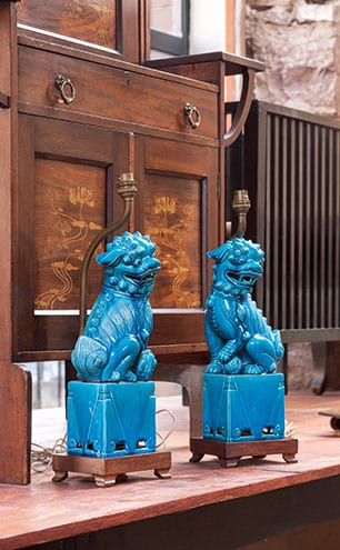 A pair of ceramic Foo Dog lamps from 1910