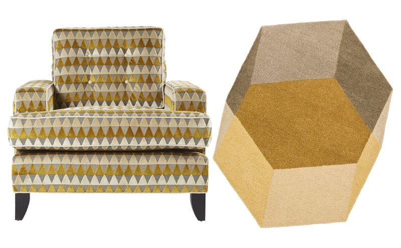 Monaco chair in Harlequin Momentum Tessalate, £1,761, Delcor; Iso hand tufted rug in yellow, 142 x 200cm, £650, puik