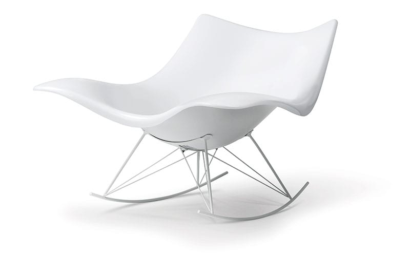[Left] The chair in a new matt white finish along with a neck cushion; [Right] Thomas Pedersen's production sketches