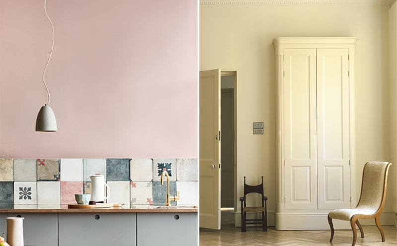 Thai Jasmine, £65.97 for 5L, Lakeland Paints; Wall, Light Peachblossom, cupboards, Grey Teal 226, £42 for 2.5L, Little Greene