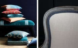 stack of cushions and chair