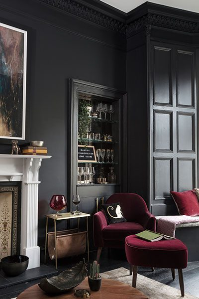 The stylish bar was fashioned out of an Edinburgh press which has been augmented with glass shelves and a mirrored back