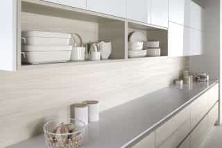 Otto kitchen in bleached walnut with gloss white, from £7,500, Burbidge