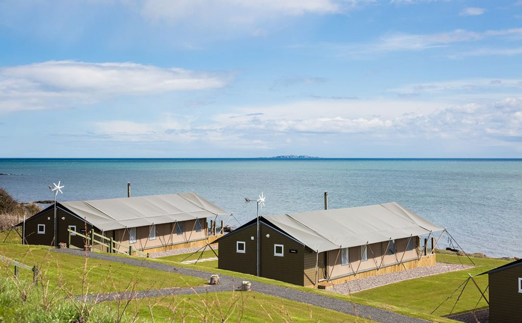 The lodges face out to sea and the East Lothian coast beyond