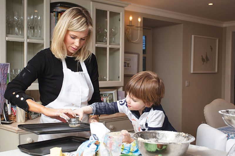 Sarah and Harry baking – the family have their own wing, leaving the rest of the accommodation for guests to hire on an exclusive-use basis for weddings and parties