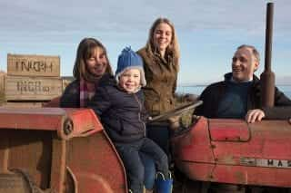 Nikki, Jamie, Rob and Claire in the Massey Ferguson 135