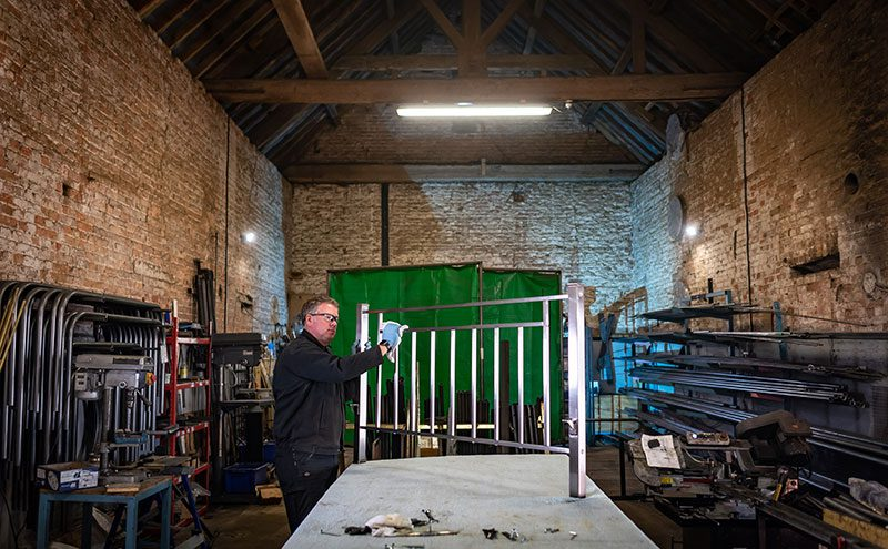 bed being constructed by Wrought Iron and Brass Bed Company