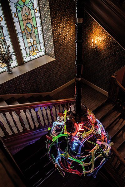 A cast glass chandelier was a specially commissioned installation by US artist Richard Jackson