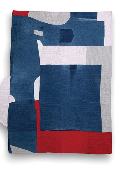 Quilt 1 is made from a well-loved Issey Miyake shirt