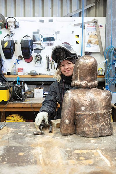 Margaret-an-Icelandic-student-working-on-a-piece-by-Frank-Dobson